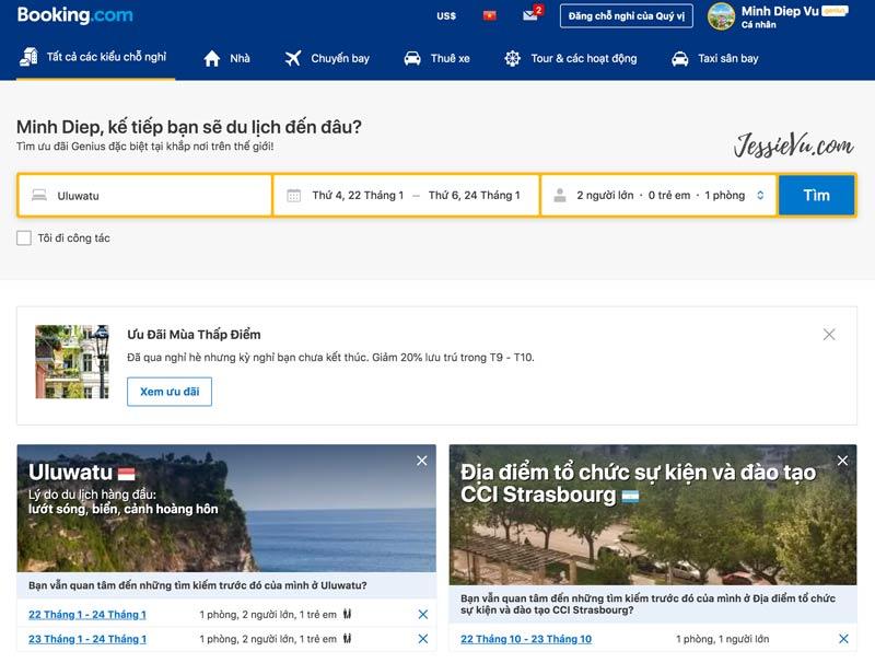 ứng dụng du lịch booking.com