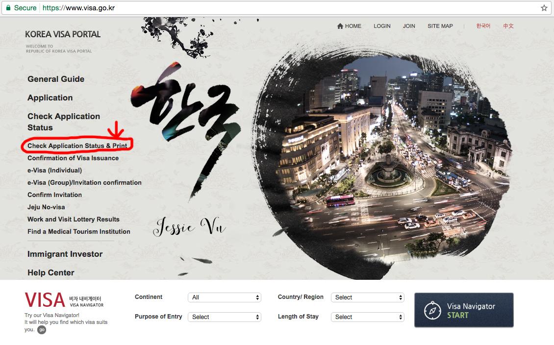 Kiểm tra online kết quả visa Hàn Quốc