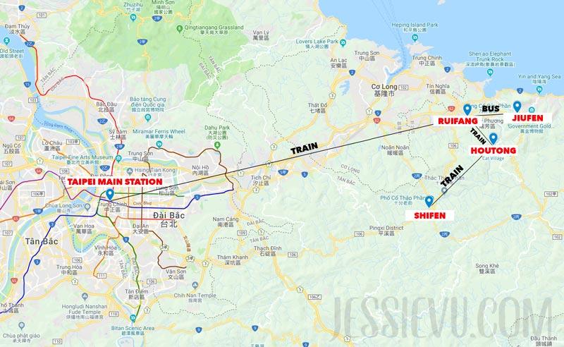 Bản đồ tới làng Shifen Jiufen Houtong