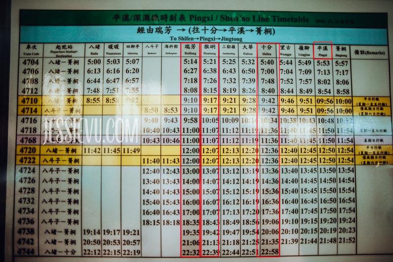 Giờ tàu chạy từ Ruifang tới Shifen